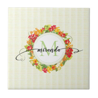 Floral Wreath Calligraphy Monogram Tile