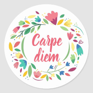 Floral Wreath Carpe Diem Stickers