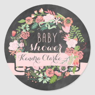 FLORAL WREATH CHALKBOARD | BABY SHOWER STICKERS