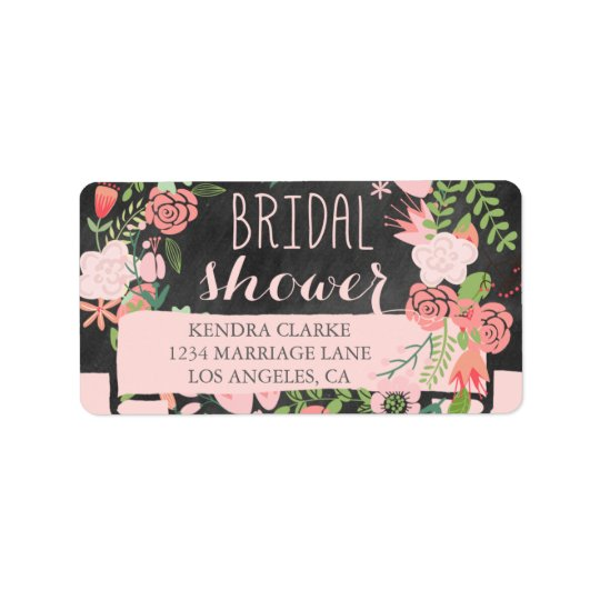 FLORAL WREATH CHALKBOARD BRIDAL SHOWER LABELS