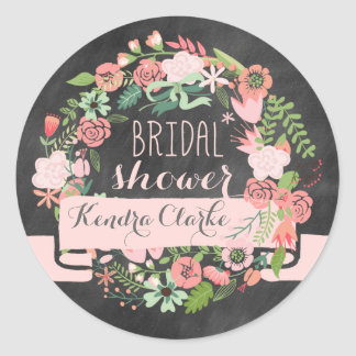 FLORAL WREATH CHALKBOARD BRIDAL SHOWER STICKERS