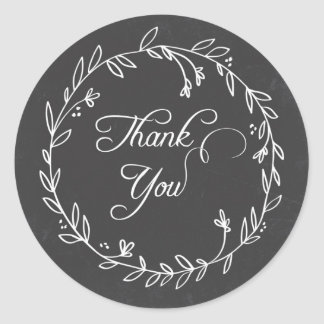 Floral Wreath Chalkboard Thank You Sticker