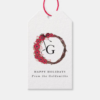 Floral Wreath Christmas Personalized Initials Pack Of Gift Tags