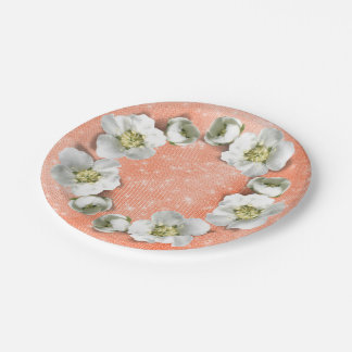 Floral Wreath Coral White Sparkly Metallic Glam Paper Plate