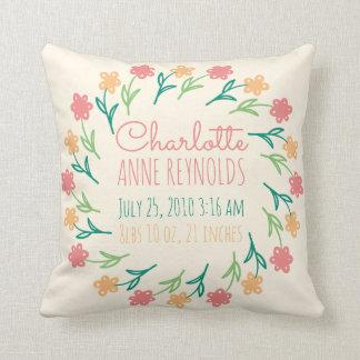 Floral Wreath Custom Birth Announcement Throw Pillow