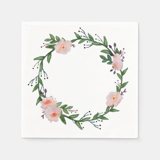 Floral Wreath Disposable Napkins
