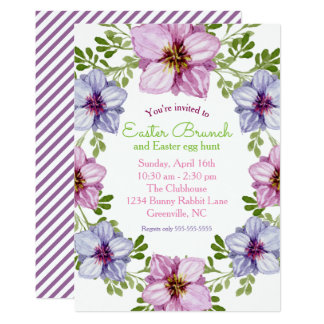 Floral Wreath Easter Brunch Party Invitation