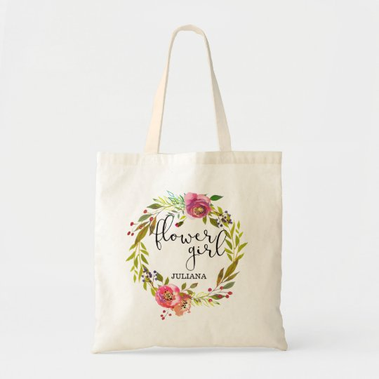 Floral Wreath Flower Girl Tote Bag