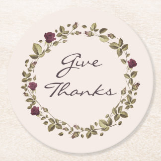 Floral Wreath Give Thanks Thanksgiving Coasters