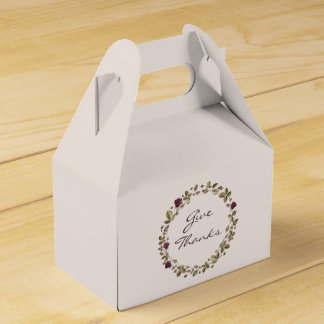 Floral Wreath Give Thanks Thanksgiving Favor Box