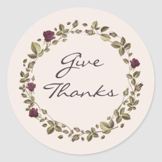 Floral Wreath Give Thanks Thanksgiving Sticker
