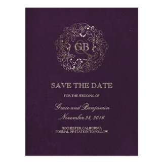 Floral Wreath Gold and Plum Vintage Save the Date Postcard