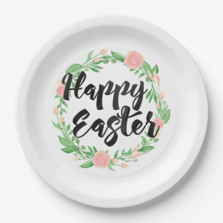 Floral Wreath Happy Easter Paper Plate