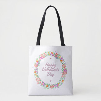 Floral Wreath Happy Valentine's Day Tote Bag