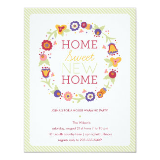 Floral Wreath House Warming Invitation