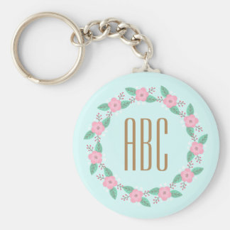 Floral Wreath Initial Personalized Keychain