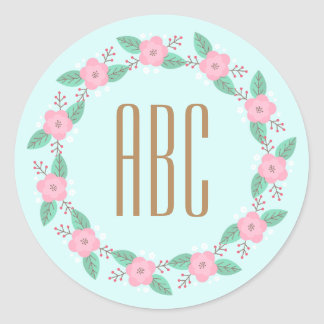Floral Wreath Initial Personalized Stickers