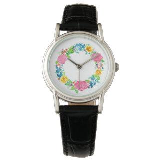floral wreath ladies wrist watch