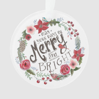 Floral Wreath Merry Christmas | Ornament Circle
