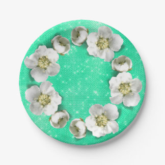 Floral Wreath Mint  White Sparkly Metallic Glam Paper Plate