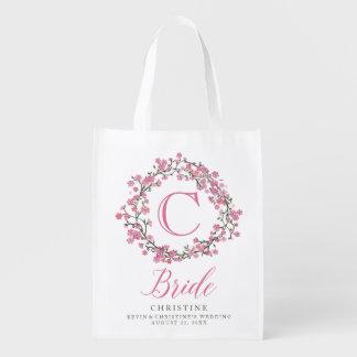 Floral Wreath Monogram Bride Reusable Grocery Bags