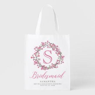 Floral Wreath Monogram Bridesmaid Bag Reusable Grocery Bags