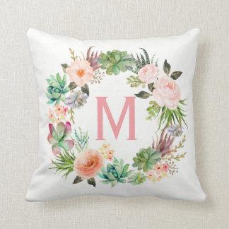 Floral Wreath Monogram Girls  Gift Decor Throw Pillow