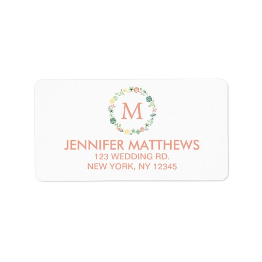 FLORAL WREATH MONOGRAM LABEL