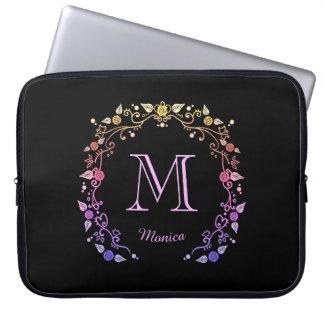Floral wreath monogram laptop computer sleeves