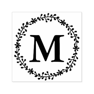 Floral Wreath Monogram Stamp
