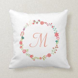 Floral Wreath Monogram Throw Pillow