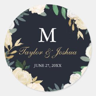 Floral Wreath Navy Monogram Wedding Sticker