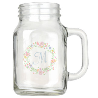 Floral Wreath Personalized Monogram Bridesmaid Mason Jar