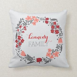 Floral Wreath Personalized Monogram Red Grey Throw Pillow