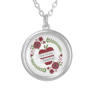 Floral Wreath Red Apple First Grade Teacher Silver Plated Necklace