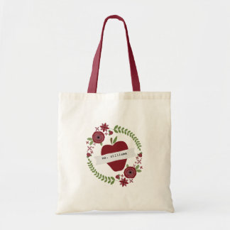 Floral Wreath Red Apple Personalized Teacher