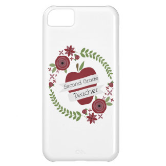Floral Wreath Red Apple Second Grade Teacher Case For iPhone 5C
