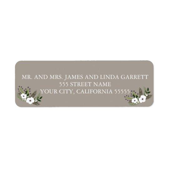 Floral wreath return address label - taupe