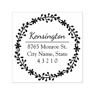 Floral Wreath Return Address Stamp