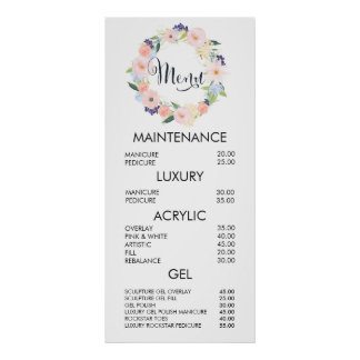 Floral Wreath Salon Menu Price List Wall Poster