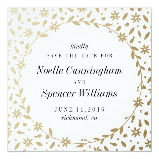 Floral Wreath Save the Date Card in Gold Foil