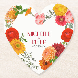 Floral Wreath- Save The Date Paper Coaster
