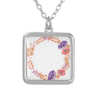 Floral wreath silver plated necklace