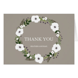 Floral Wreath Thank You Notes - taupe