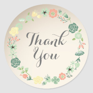 Floral Wreath Thank You Sticker