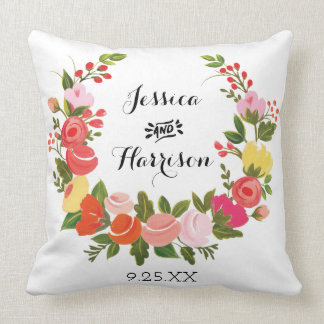 Floral Wreath Throw Pillow