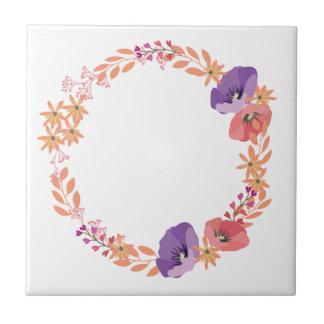 Floral wreath tile