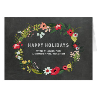 Floral Wreath Vintage Chalkboard Teacher Christmas Greeting Card