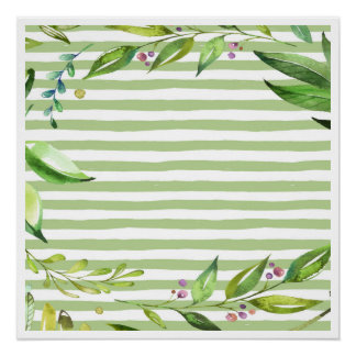 Floral Wreath Watercolor Art Bold Greenery Stripes Perfect Poster