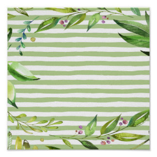 Floral Wreath Watercolor Art Bold Greenery Stripes Poster